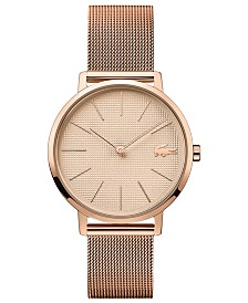 Lacoste Women's Moon Ultra Slim Rose Gold-Tone Stainless Steel Mesh Bracelet Watch 35mm