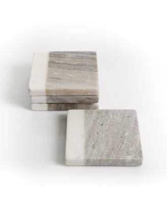 Laurie Gates Gray & White Marble Coaster Set