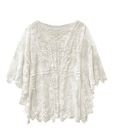 Laundry by Shelli Segal Lace Side Ruffle Kimono