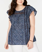 d3a6c097677a6b Lucky Brand Plus Size Cotton Printed Flutter-Sleeve Top