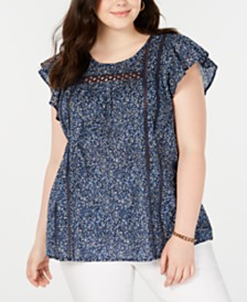 Lucky Brand Plus Size Cotton Printed Flutter-Sleeve Top