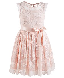 Pink & Violet Little Girls Scalloped-Hem Lace Dress