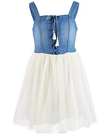 Big Girls Laced-Front Denim Dress