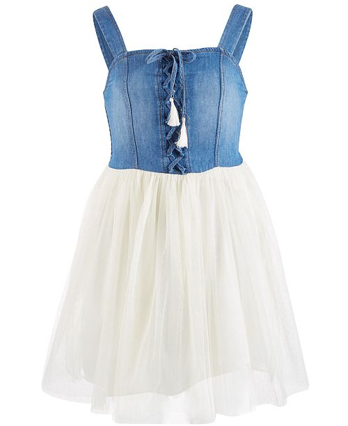 Beautees Big Girls Laced-Front Denim Dress