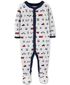 Baby Boys Printed Footed Coveralls