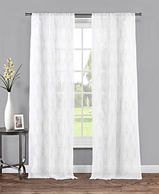 "Anne 38"" x 84"" Geometric Print Sheer Curtain Set"