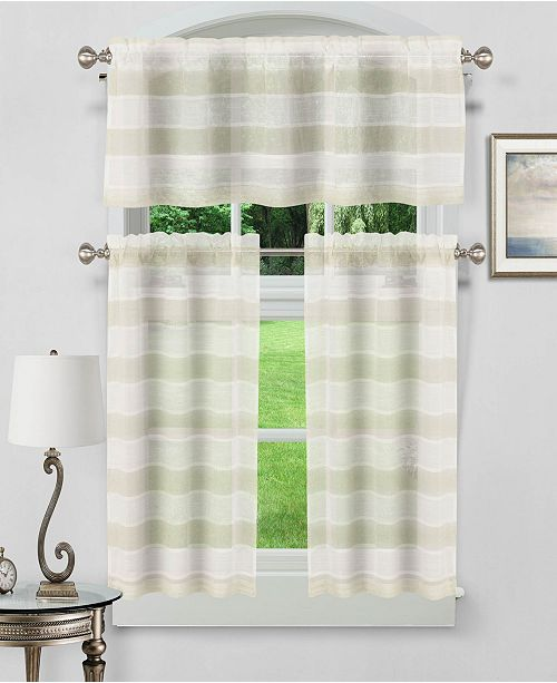 Dakota 3 Piece Kitchen Curtain Set