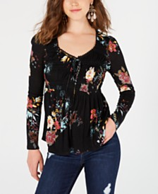 American Rag Juniors' Printed Lace-Up Peplum Top, Created for Macy's