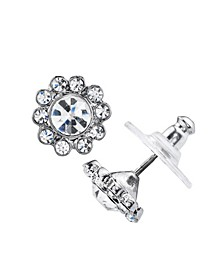 Silver-Tone Crystal Flower Button Earrings