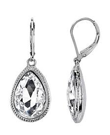 2028 Silver-Tone Crystal Faceted Teardrop Earrings