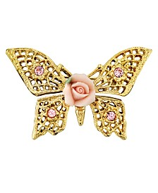 2028 Gold-Tone Pink Crystal and Porcelain Rose Butterfly Brooch