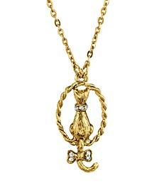 "Gold Tone Crystal Backwards Cat Necklace 18"""