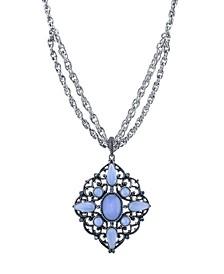 "Pewter Tone Lt. Blue Moonstone Large Filigree Pendant Necklace 16"" Adjustable"