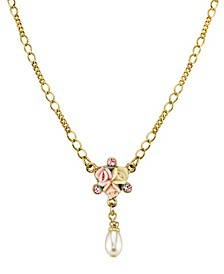 """Gold-Tone Crystal Ivory and Pink Porcelain Rose Simulated Pearl Necklace 16"""" Adjustable"""