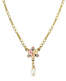 "2028 Gold-Tone Crystal Ivory and Pink Porcelain Rose Simulated Pearl Necklace 16"" Adjustable"