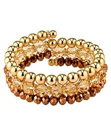 Gold-Tone Lt. Colorado Topaz Beaded Coil Bracelet