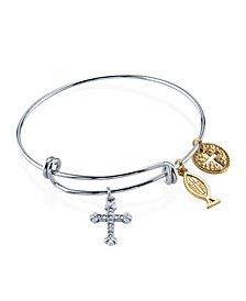 Silver Tone Bangle Bracelet with Cross Fish and Medallion Charms