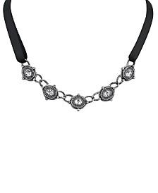 """2028 Silver Tone Black Necklace 13"""" Adjustable"""