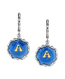 Silver Tone Blue Enamel Gold Tone Initial Earrings