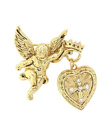Symbols of Faith 14K Gold-Dipped Crystal Glory of The Cross Fob Locket Brooch