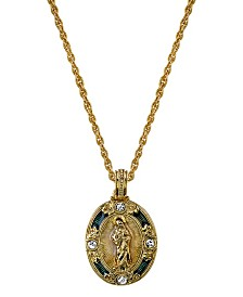Symbols of Faith 14K Gold-Dipped Crystal Blue Enamel Virgin Mary Pendant Necklace 18""