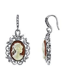 Downton Abbey Silver-Tone Oval Cameo Drop Earrings