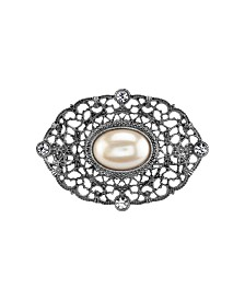 Downton Abbey Silver-Tone Crystal Belle Epoch Filigree with Large Simulated Pearl Bar Pin