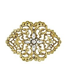 Gold-Tone Belle Epoch Filigree with Pave Crystal Stone Cluster Bar Pin