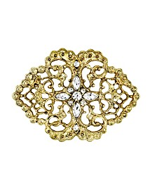 Downton Abbey Gold-Tone Belle Epoch Filigree with Pave Crystal Stone Cluster Bar Pin