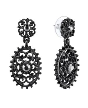 Black-Tone Filigree Oval with Aesthetic Beaded Edge Detail Dangle Earrings