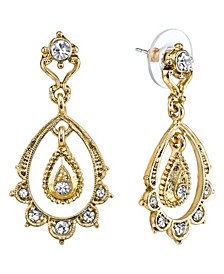 Gold-Tone Crystal Belle Epoch Scallop with Dangle and Post Top Drop Earrings