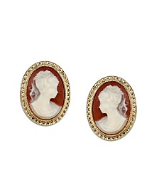 Downton Abbey Gold-Tone Simulated Cameo Stud Earrings
