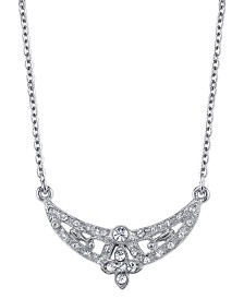 "Downton Abbey Silver-Tone Crystal Floral Scallop Necklace 16"" Adjustable"