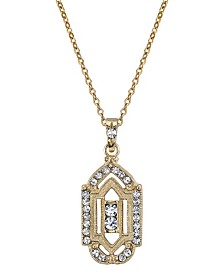 "Downton Abbey Gold-Tone Crystal Pendant Necklace 16"" Adjustable"