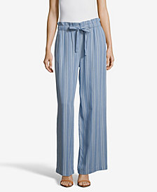 JohnPaulRichard Striped Soft Wide Leg Pants with Tie Front