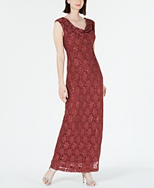 Sequined Lace Cowl-Neck Gown