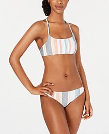 Juniors' Printed Beach Classics Bralette Bikini Top & Bikini Bottoms