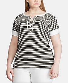 Lauren Ralph Lauren Plus Size Striped Lace-Up Cotton Top