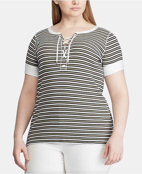Lauren Ralph Lauren Plus Size Striped Lace-Up Cotton Top