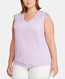 Lauren Ralph Lauren Plus-Size Tassel-Trim Cinched Cotton Top