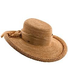 Roll-Brim Raffia Hat with Chiffon Scarf