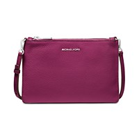 Michael Kors Pebble Leather Double Pouch Crossbody (Garnet/Silver)