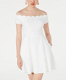 B Darlin Juniors' Off-The-Shoulder Scalloped Dress