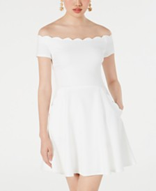 B Darlin Juniors' Off-The-Shoulder Scalloped Dress