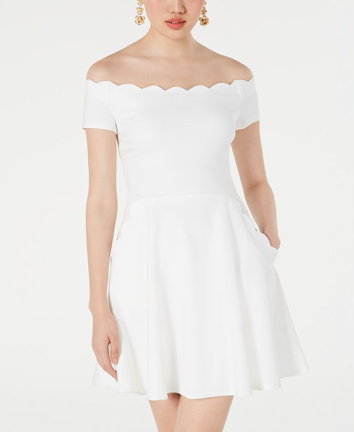 B Darlin - Juniors' Off-The-Shoulder Scalloped Dress