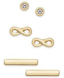 Kitsch Gold-Tone 3-Pc. Set Forever Connected Stud Earrings