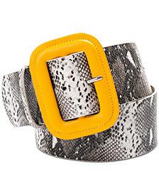 I.N.C. Covered Buckle Snake Embossed Belt, Created for Macy's
