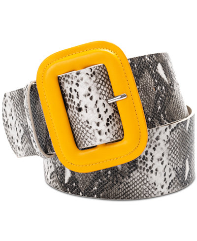 I.N.C. Covered Buckle Snake Embossed Belt, Created for Macy's