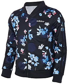 adidas Little Girls Floral-Print Jacket
