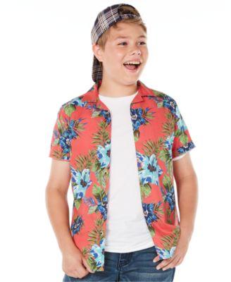 Big Boys Floral-Print Poplin Camp Shirt, Created for Macy's